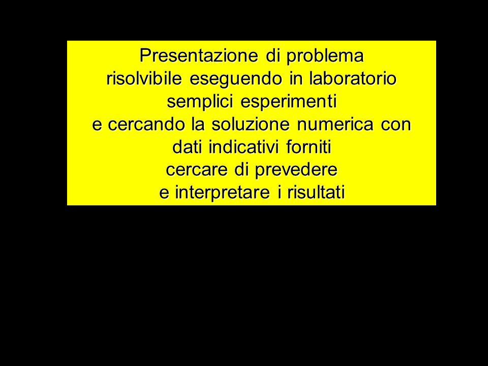 Presentazione di problema risolvibile eseguendo in laboratorio semplici esperimenti e cercando la soluzione numerica con dati indicativi forniti cercare di prevedere e interpretare i risultati