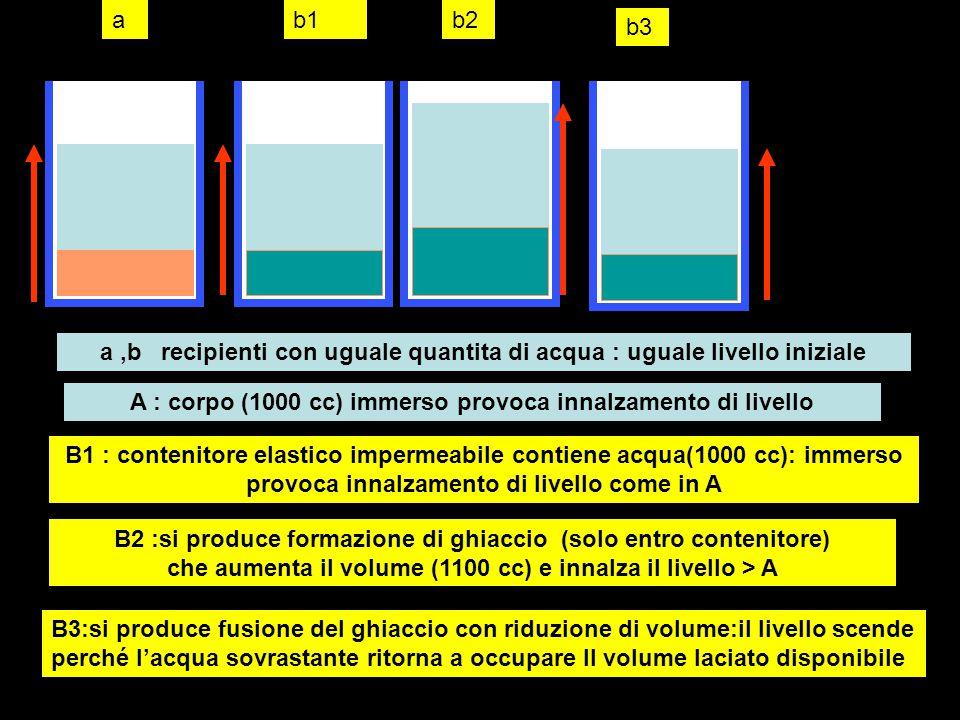 a ,b recipienti con uguale quantita di acqua : uguale livello iniziale