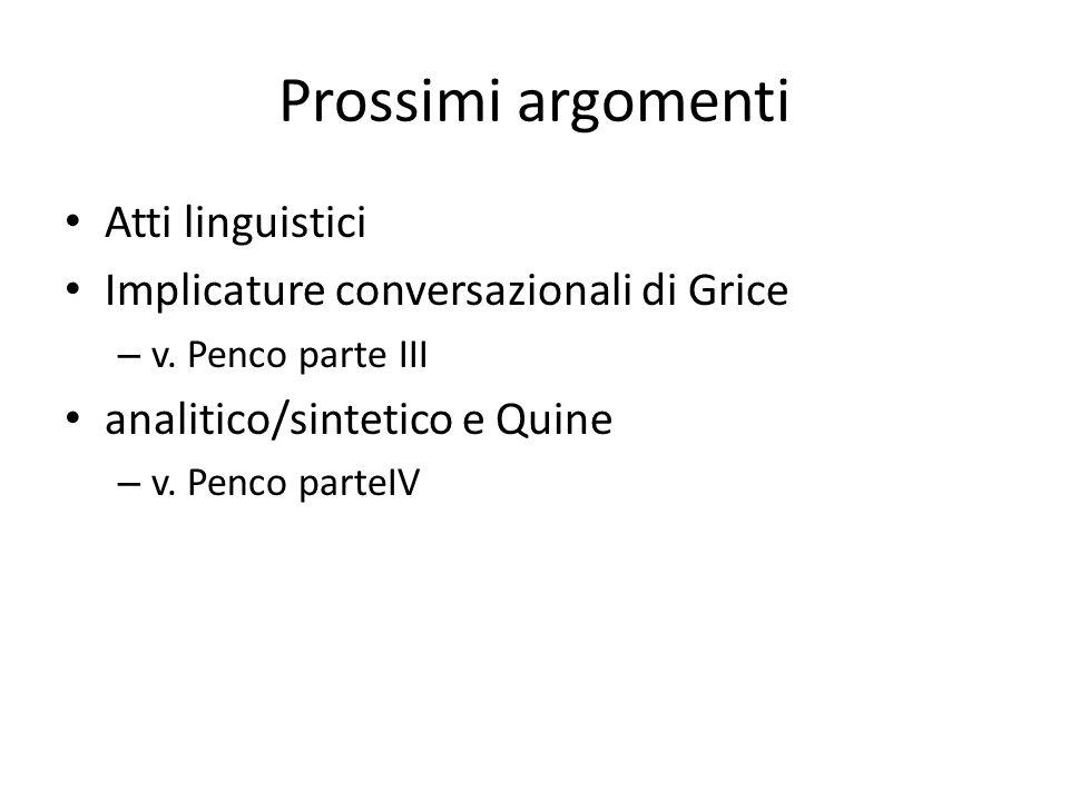 Prossimi argomenti Atti linguistici