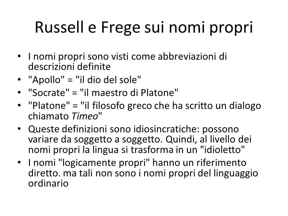 Russell e Frege sui nomi propri