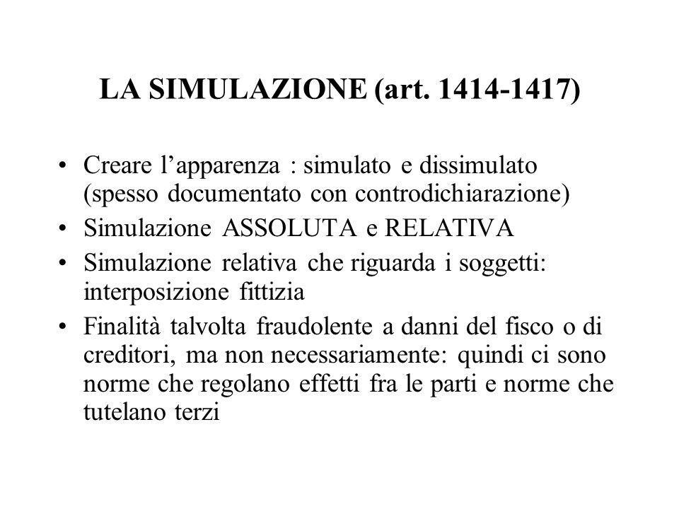 LA SIMULAZIONE (art. 1414-1417) Creare l'apparenza : simulato e dissimulato (spesso documentato con controdichiarazione)