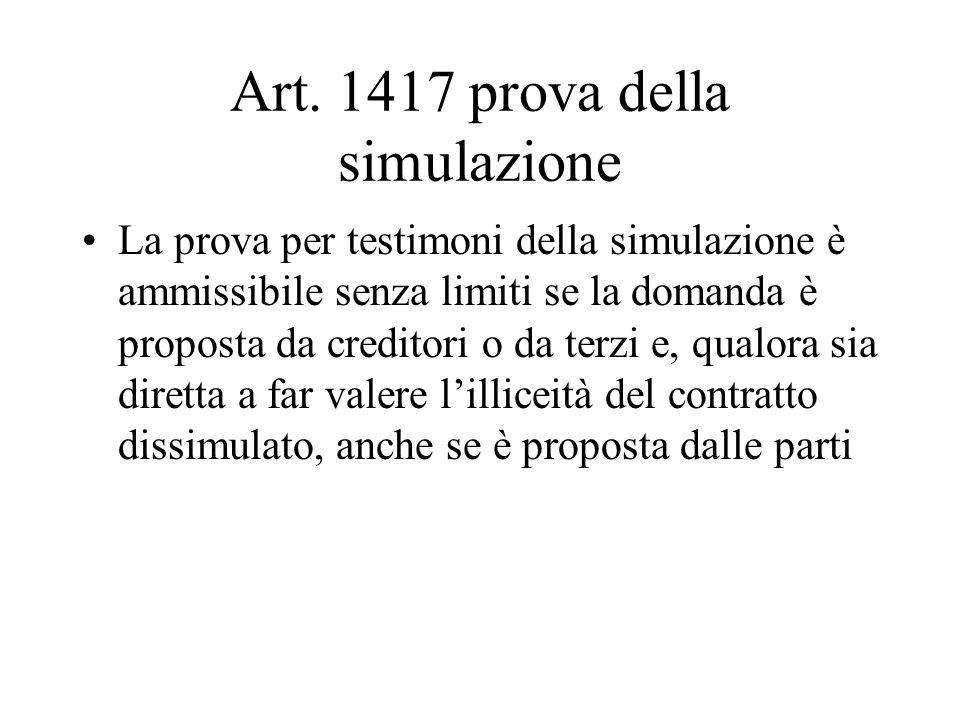 Art. 1417 prova della simulazione