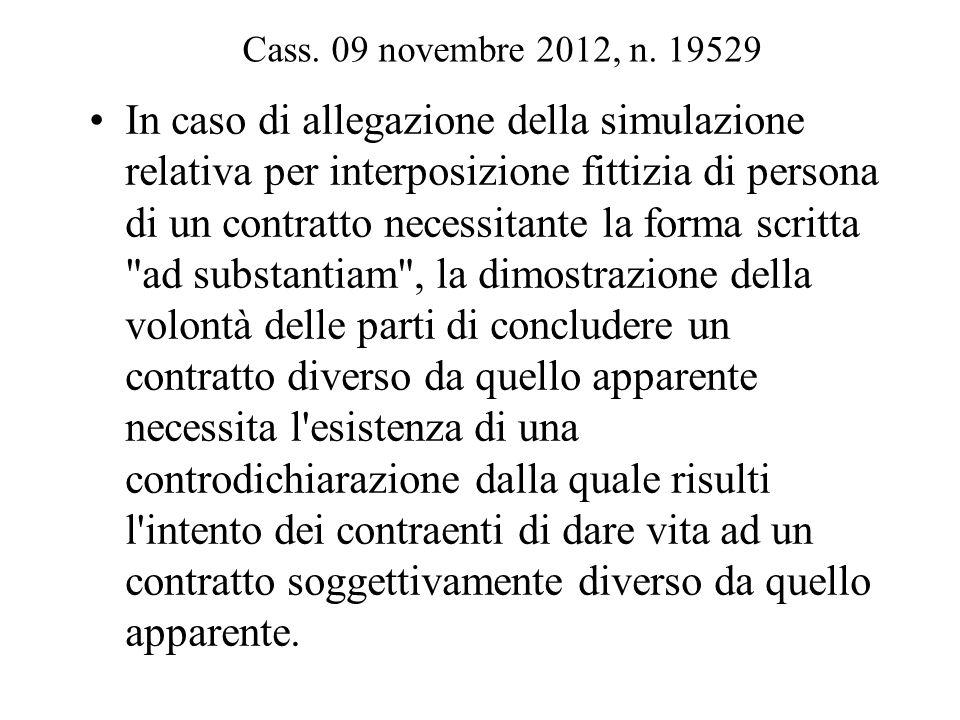 Cass. 09 novembre 2012, n. 19529