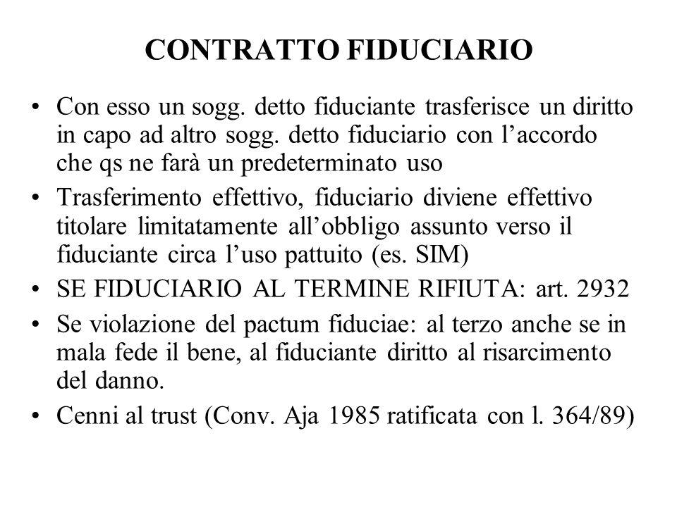 CONTRATTO FIDUCIARIO