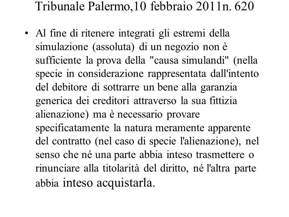 Tribunale Palermo,10 febbraio 2011n. 620