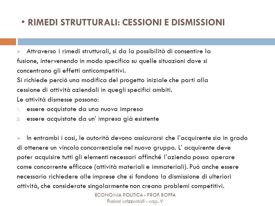 RIMEDI STRUTTURALI: CESSIONI E DISMISSIONI