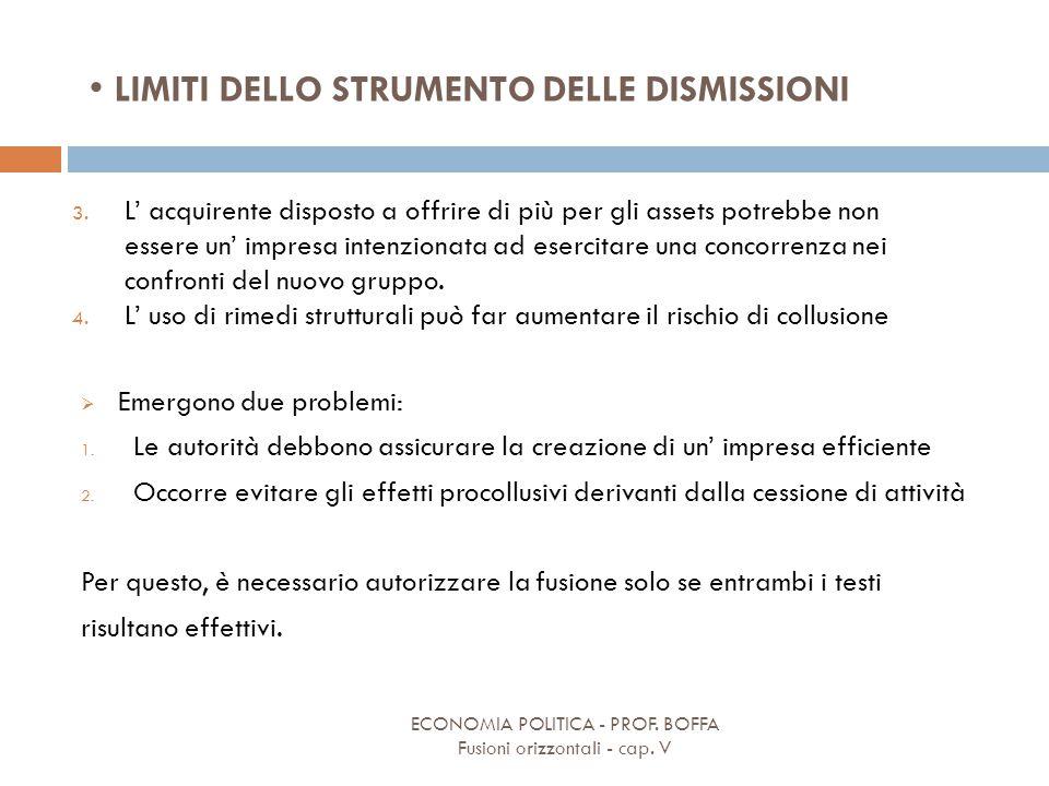 LIMITI DELLO STRUMENTO DELLE DISMISSIONI