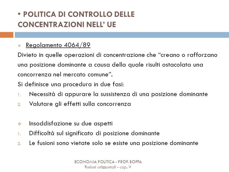 POLITICA DI CONTROLLO DELLE CONCENTRAZIONI NELL' UE