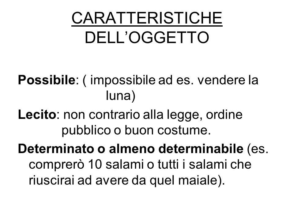 CARATTERISTICHE DELL'OGGETTO