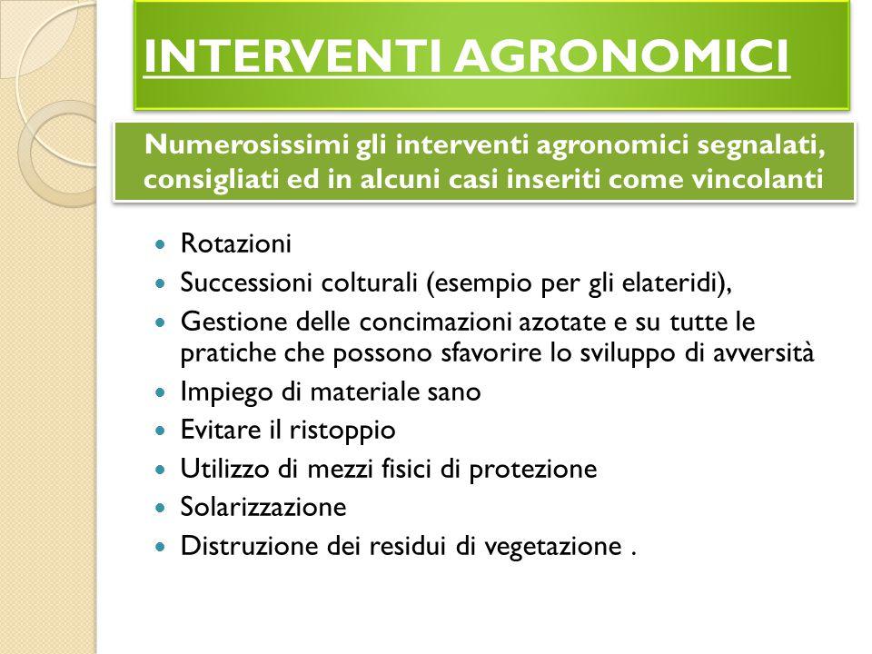 INTERVENTI AGRONOMICI