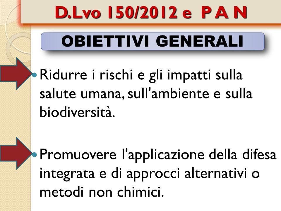 D.Lvo 150/2012 e P A N OBIETTIVI GENERALI