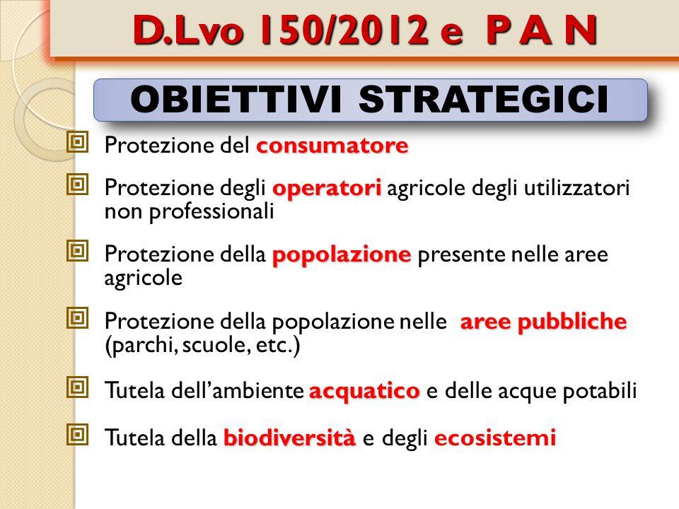 D.Lvo 150/2012 e P A N OBIETTIVI STRATEGICI Protezione del consumatore