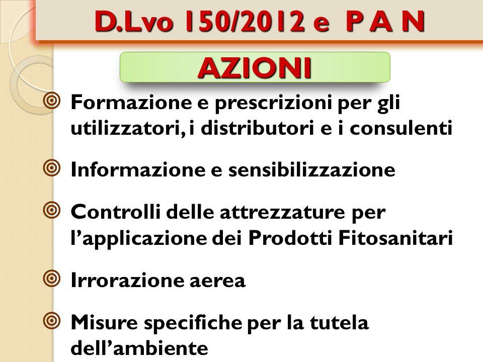 D.Lvo 150/2012 e P A N AZIONI. Formazione e prescrizioni per gli utilizzatori, i distributori e i consulenti.