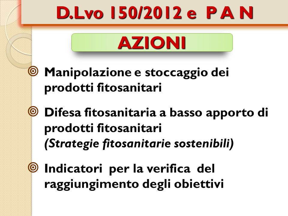 D.Lvo 150/2012 e P A N AZIONI. Manipolazione e stoccaggio dei prodotti fitosanitari.