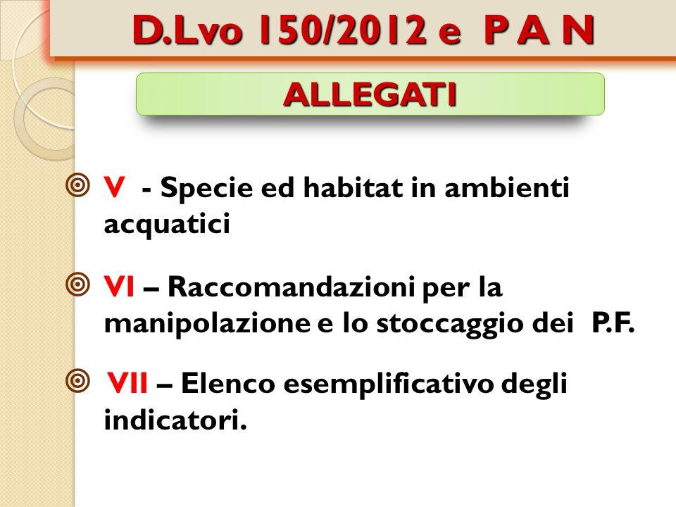 D.Lvo 150/2012 e P A N ALLEGATI. V - Specie ed habitat in ambienti acquatici.