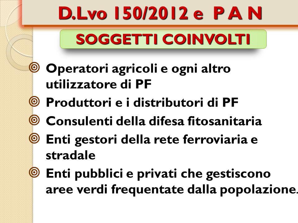 D.Lvo 150/2012 e P A N SOGGETTI COINVOLTI