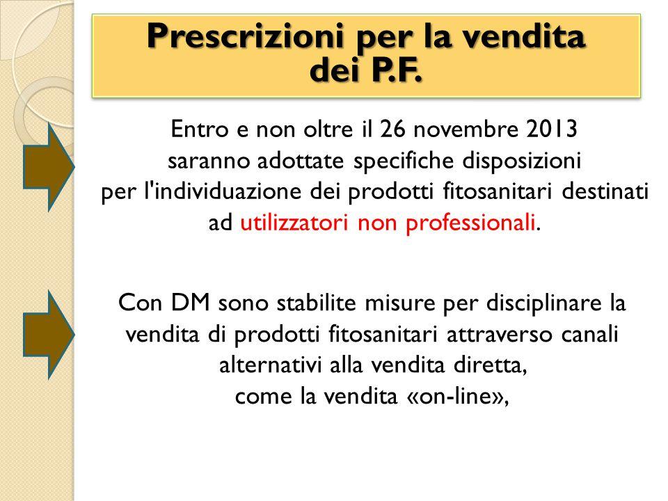 Prescrizioni per la vendita