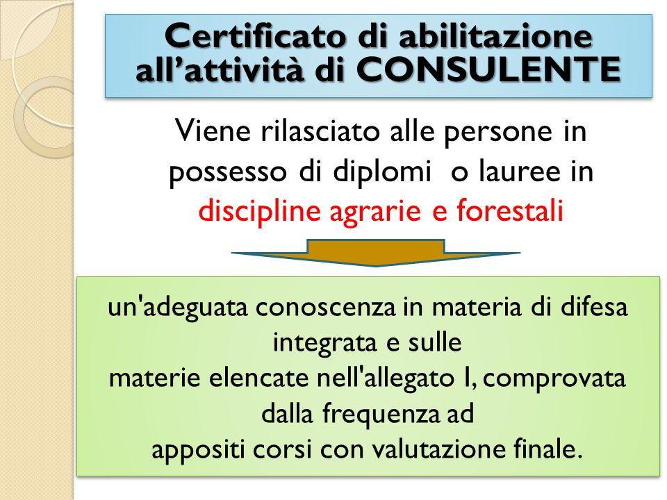 Certificato di abilitazione all'attività di CONSULENTE