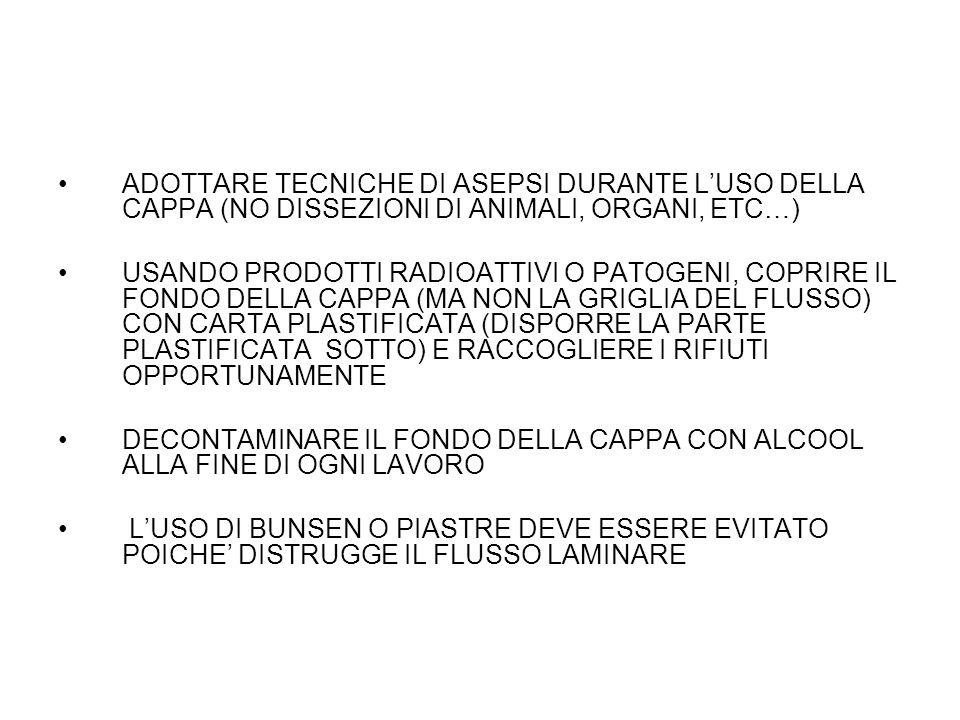 ADOTTARE TECNICHE DI ASEPSI DURANTE L'USO DELLA CAPPA (NO DISSEZIONI DI ANIMALI, ORGANI, ETC…)