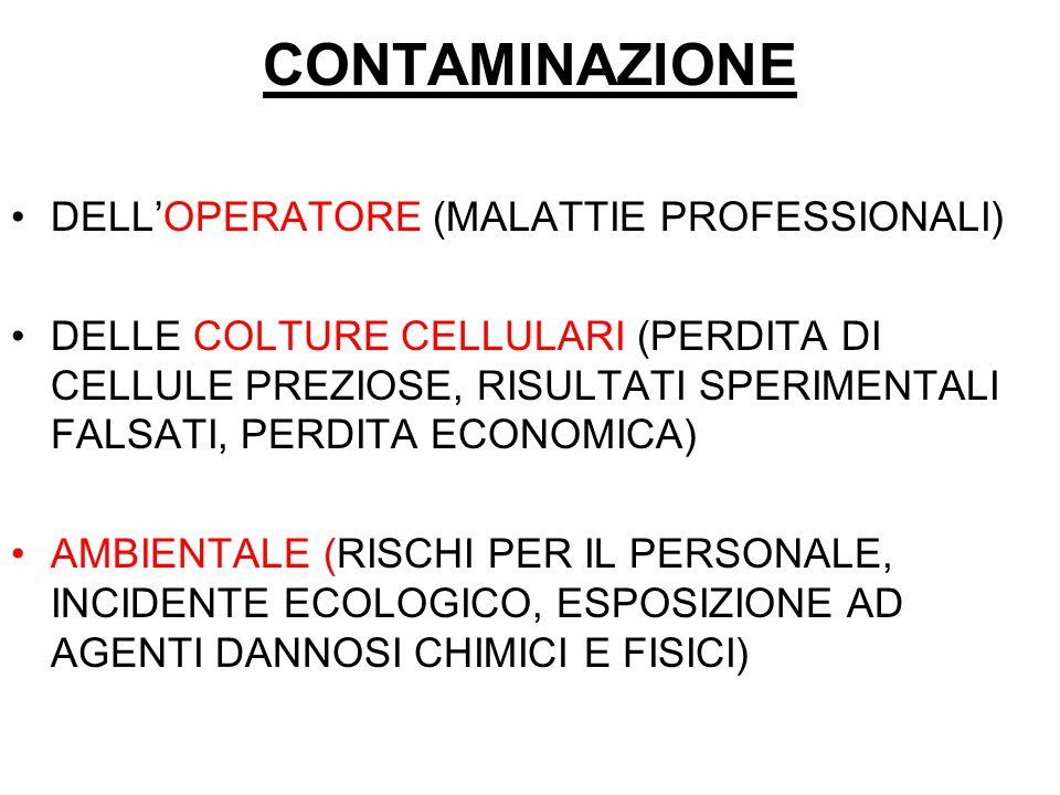 CONTAMINAZIONE DELL'OPERATORE (MALATTIE PROFESSIONALI)