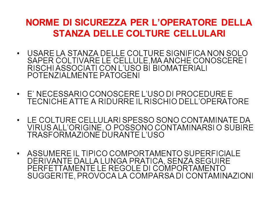 NORME DI SICUREZZA PER L'OPERATORE DELLA STANZA DELLE COLTURE CELLULARI