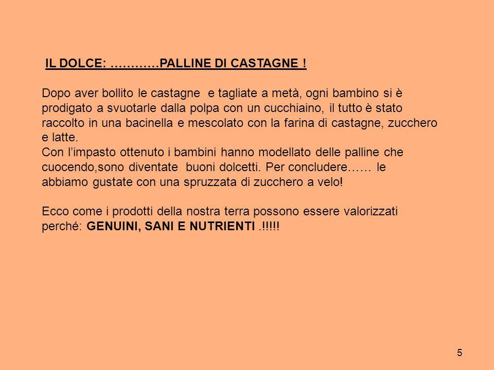 IL DOLCE: …………PALLINE DI CASTAGNE !
