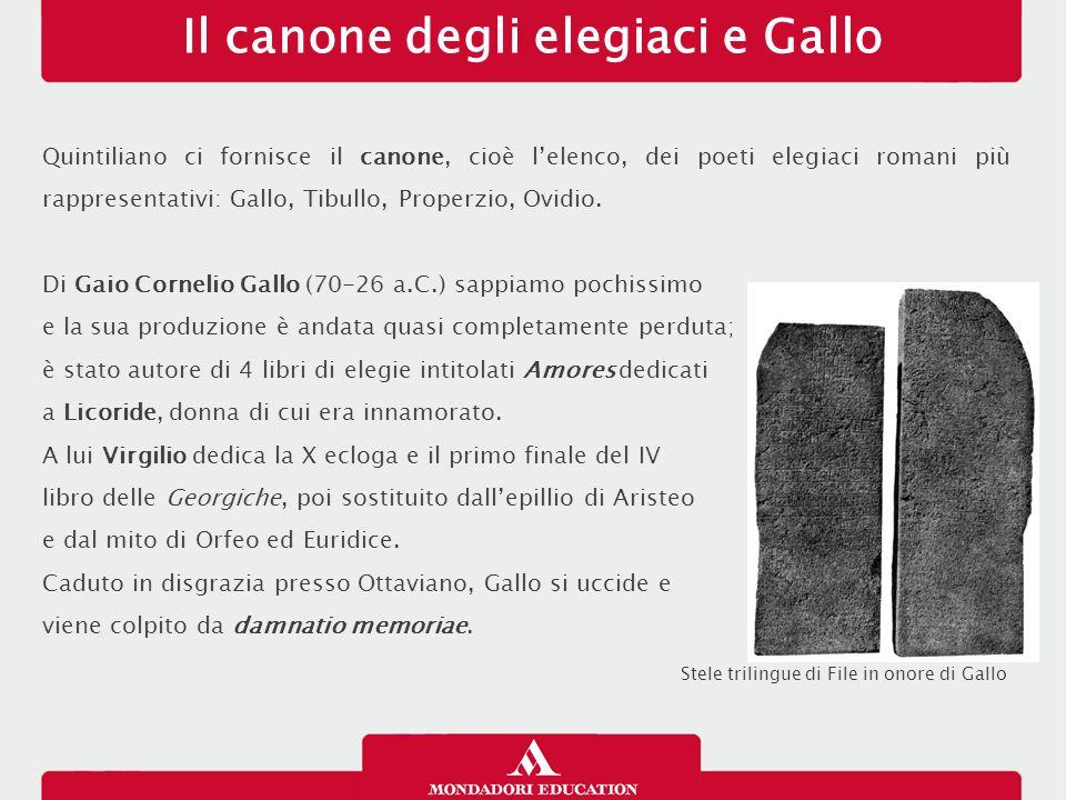 Il canone degli elegiaci e Gallo