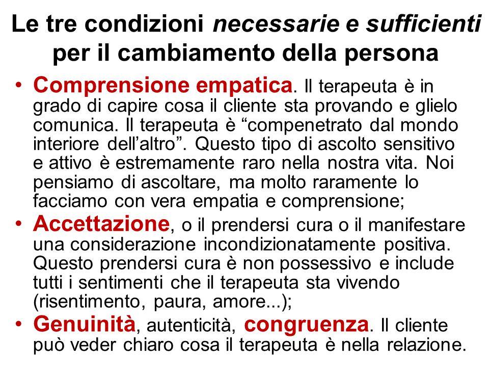 Le tre condizioni necessarie e sufficienti per il cambiamento della persona