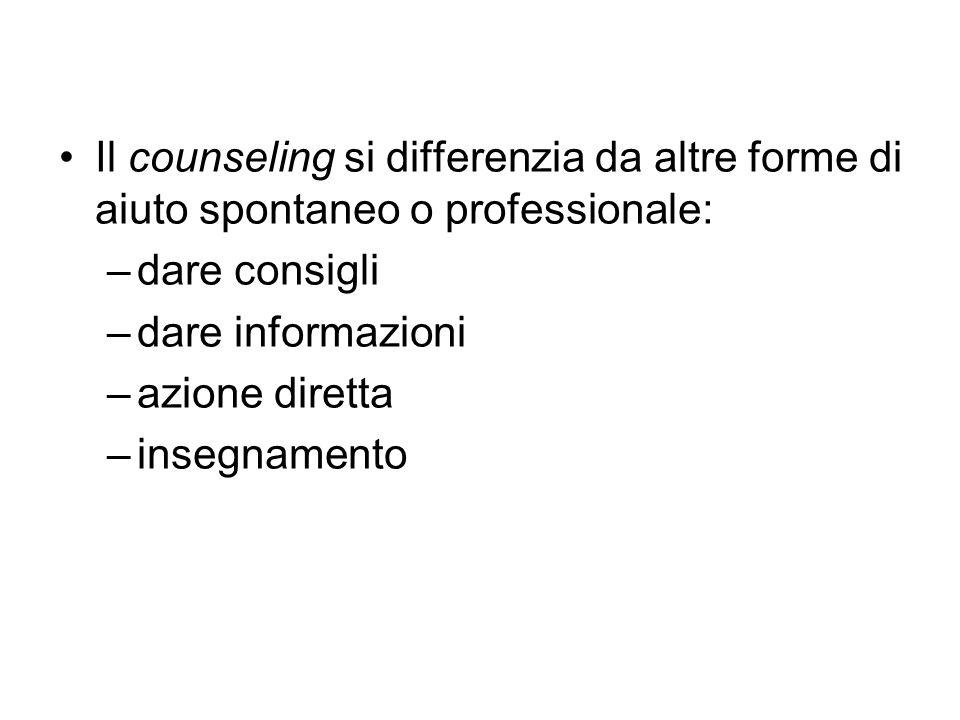 Il counseling si differenzia da altre forme di aiuto spontaneo o professionale: