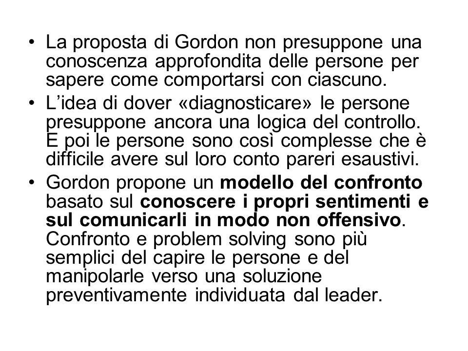 La proposta di Gordon non presuppone una conoscenza approfondita delle persone per sapere come comportarsi con ciascuno.