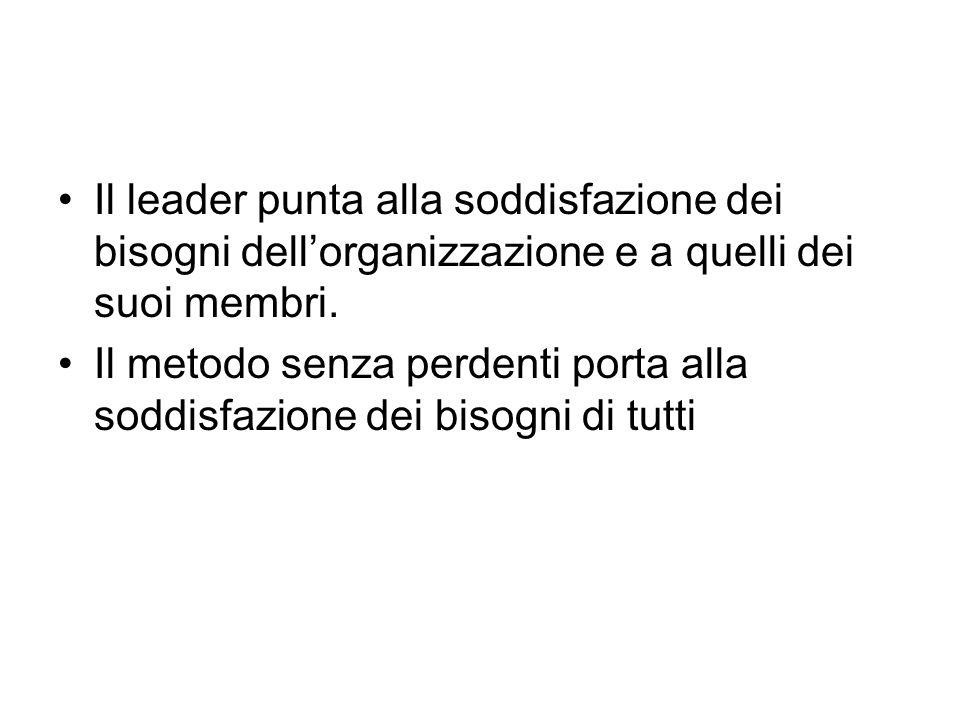 Il leader punta alla soddisfazione dei bisogni dell'organizzazione e a quelli dei suoi membri.