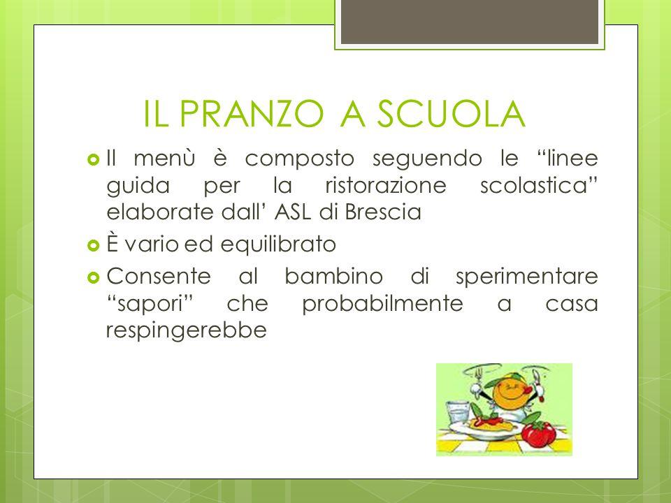 IL PRANZO A SCUOLA Il menù è composto seguendo le linee guida per la ristorazione scolastica elaborate dall' ASL di Brescia.