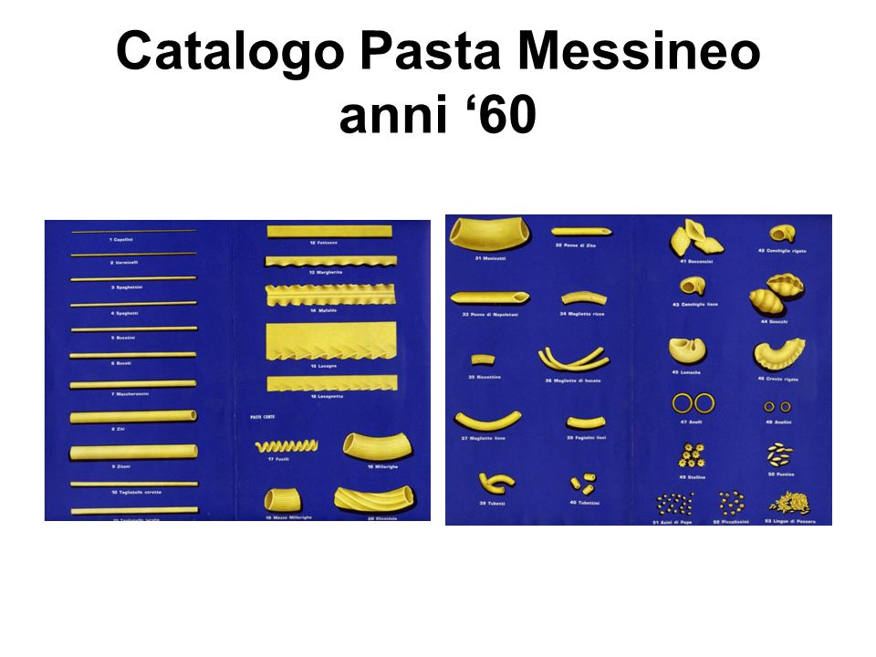 Catalogo Pasta Messineo anni '60