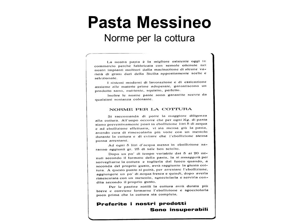Pasta Messineo Norme per la cottura