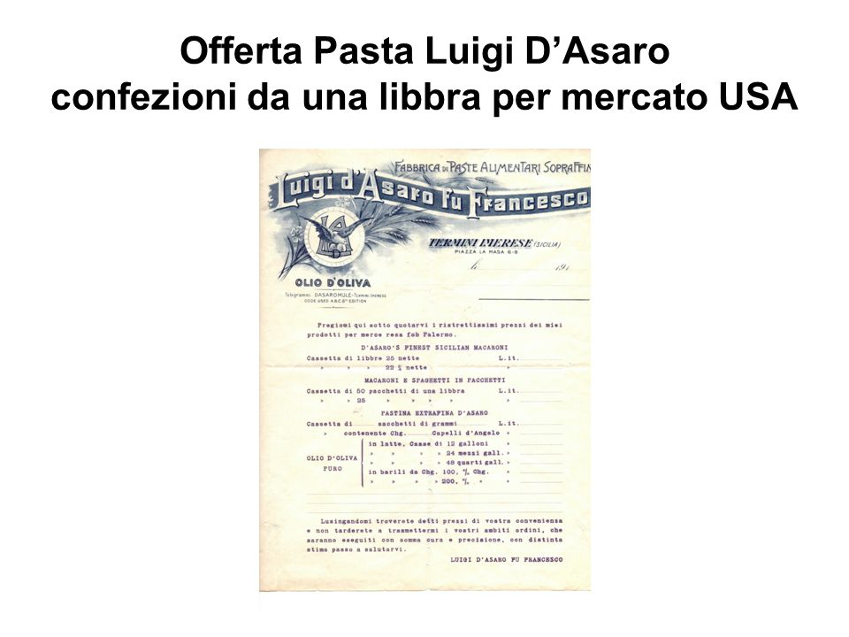 Offerta Pasta Luigi D'Asaro confezioni da una libbra per mercato USA