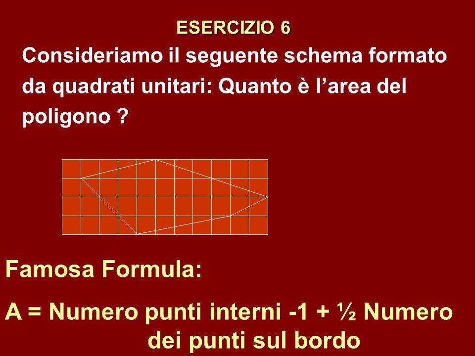 A = Numero punti interni -1 + ½ Numero dei punti sul bordo