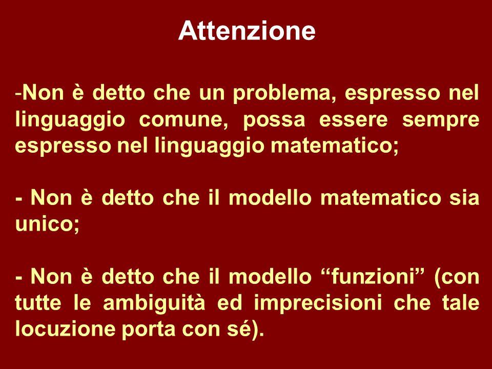 Attenzione Non è detto che un problema, espresso nel linguaggio comune, possa essere sempre espresso nel linguaggio matematico;