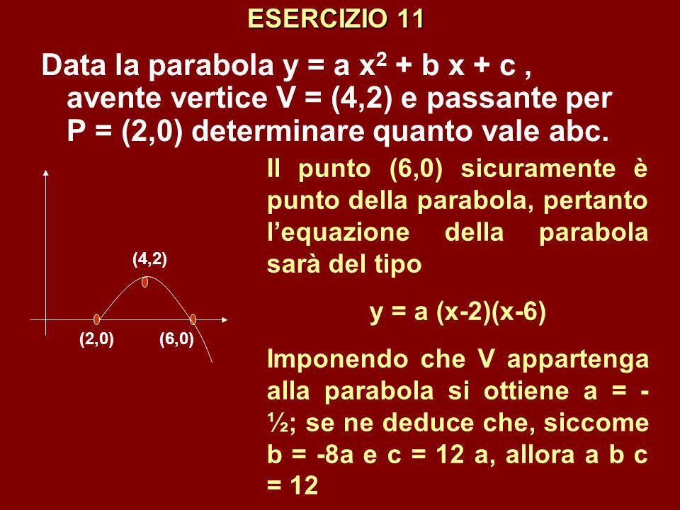 ESERCIZIO 11 Data la parabola y = a x2 + b x + c , avente vertice V = (4,2) e passante per P = (2,0) determinare quanto vale abc.