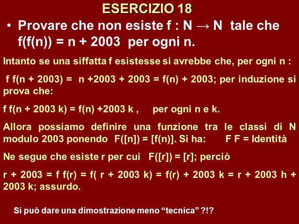 ESERCIZIO 18 Provare che non esiste f : N → N tale che f(f(n)) = n + 2003 per ogni n.