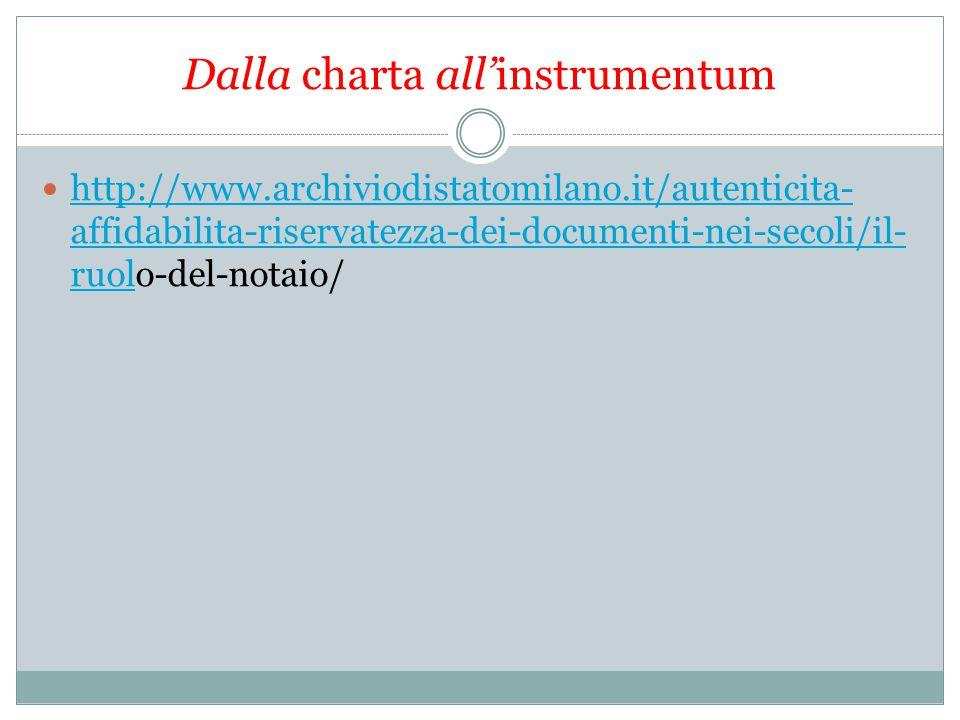 Dalla charta all'instrumentum