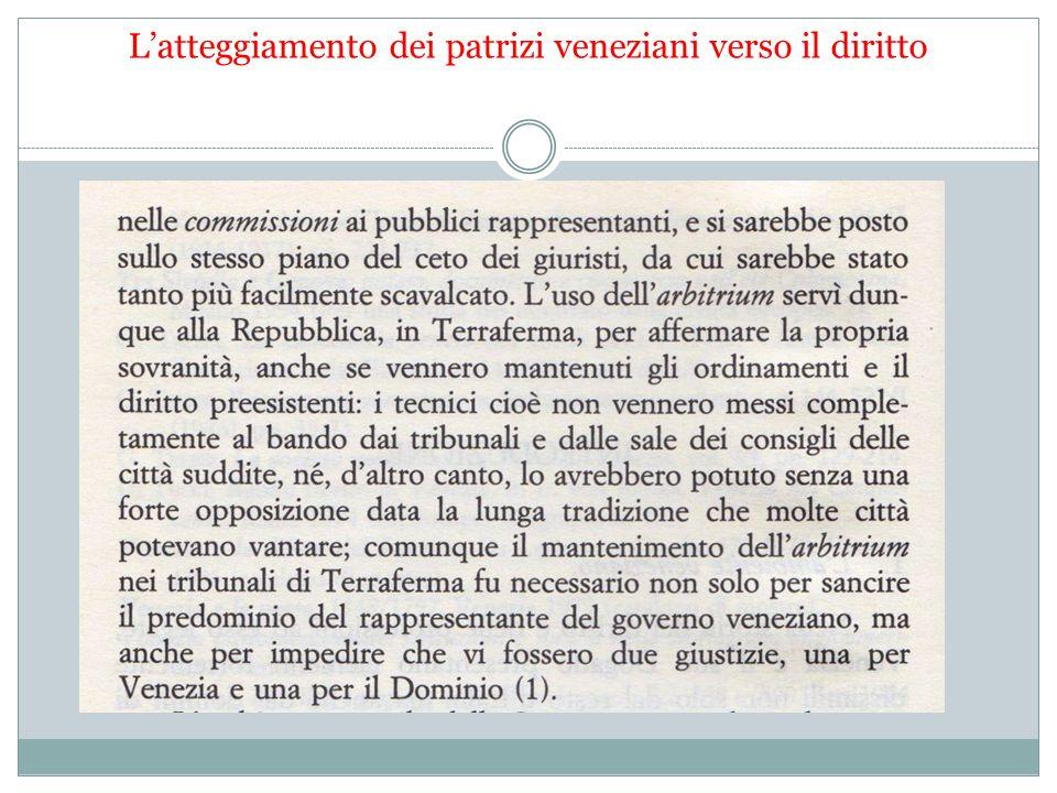 L'atteggiamento dei patrizi veneziani verso il diritto