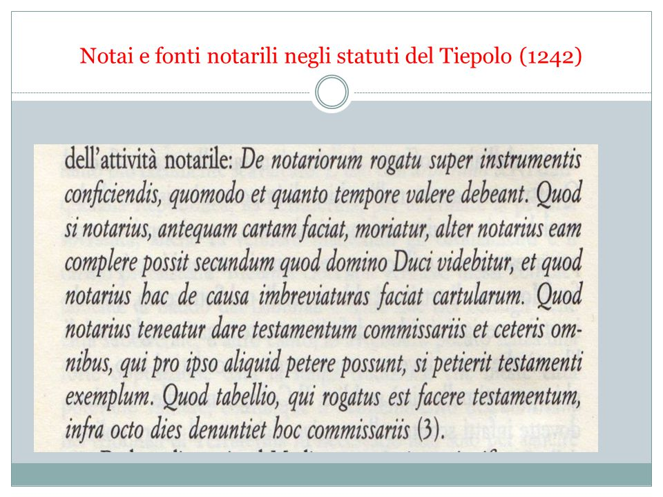 Notai e fonti notarili negli statuti del Tiepolo (1242)