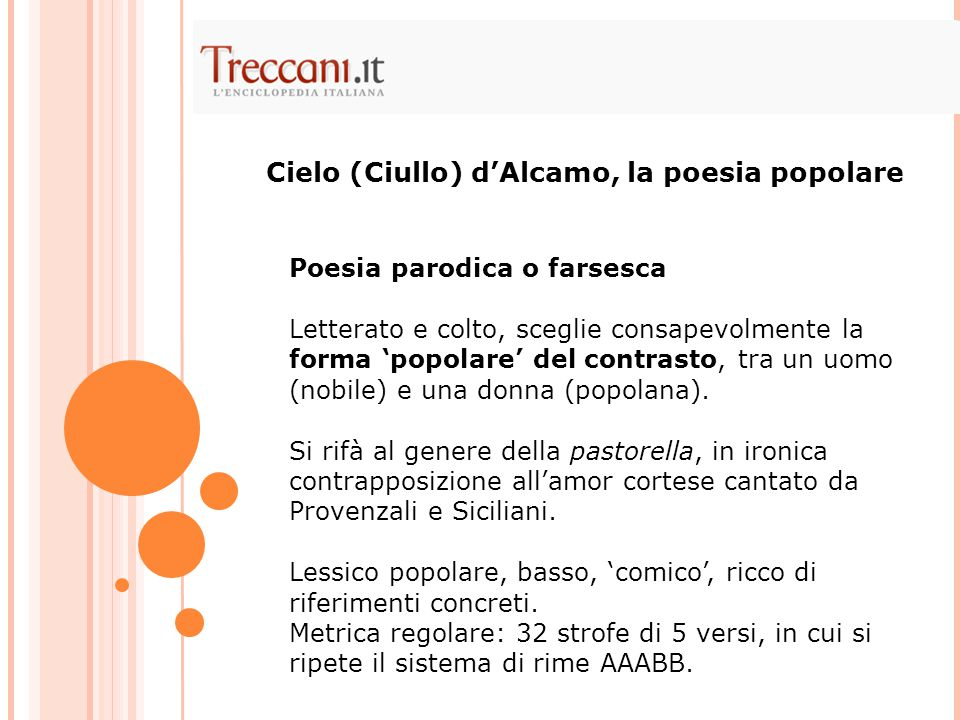 Cielo (Ciullo) d'Alcamo, la poesia popolare