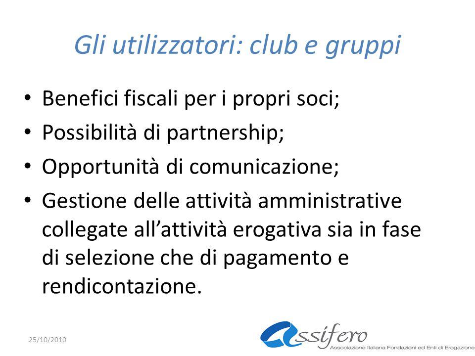 Gli utilizzatori: club e gruppi