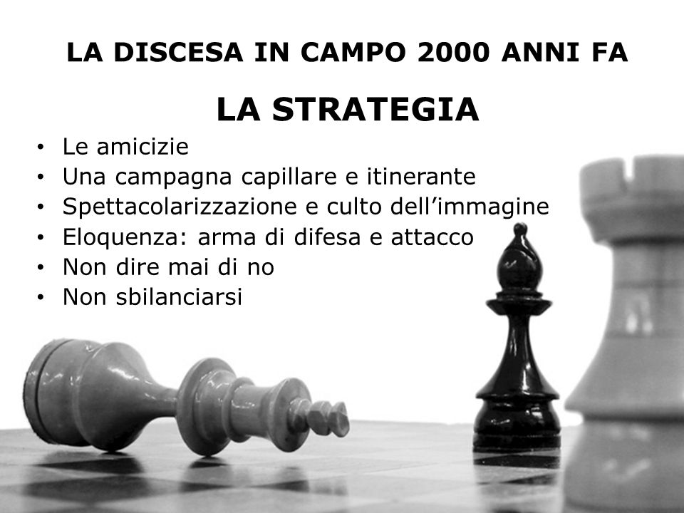 LA DISCESA IN CAMPO 2000 ANNI FA LA STRATEGIA