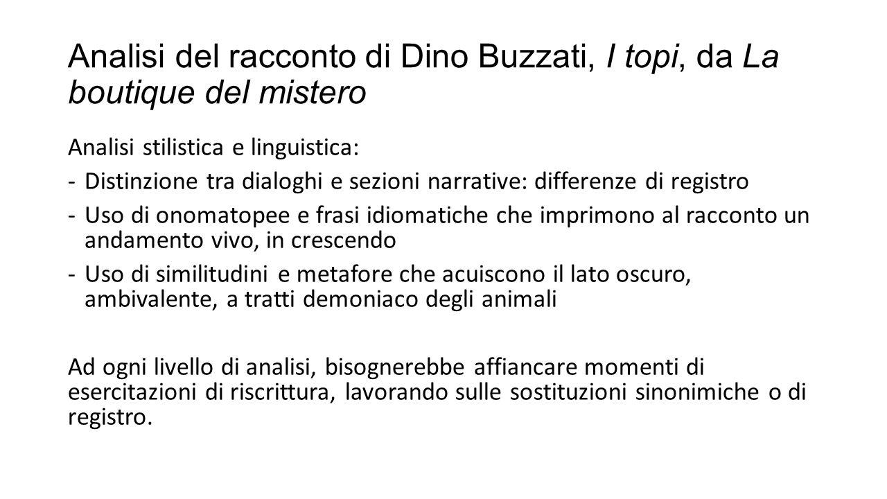 Analisi del racconto di Dino Buzzati, I topi, da La boutique del mistero