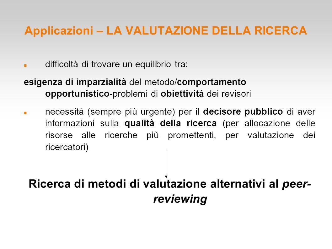 Applicazioni – LA VALUTAZIONE DELLA RICERCA