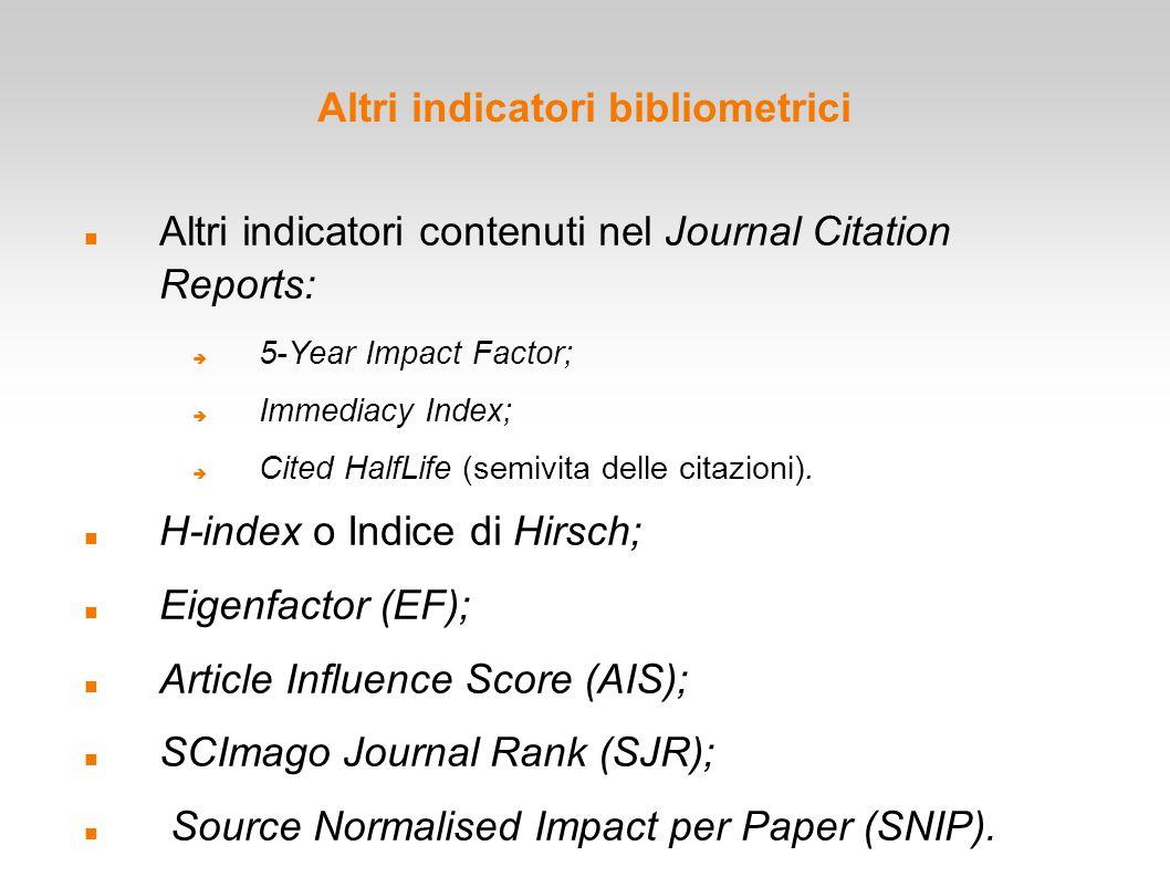 Altri indicatori bibliometrici
