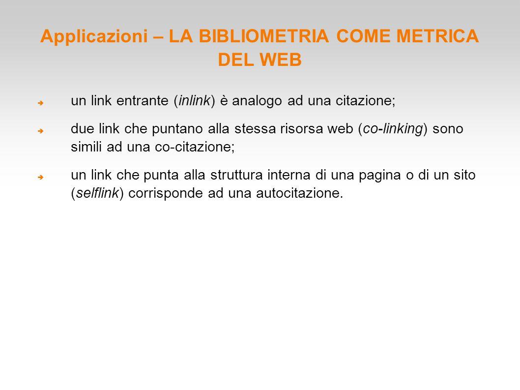 Applicazioni – LA BIBLIOMETRIA COME METRICA DEL WEB