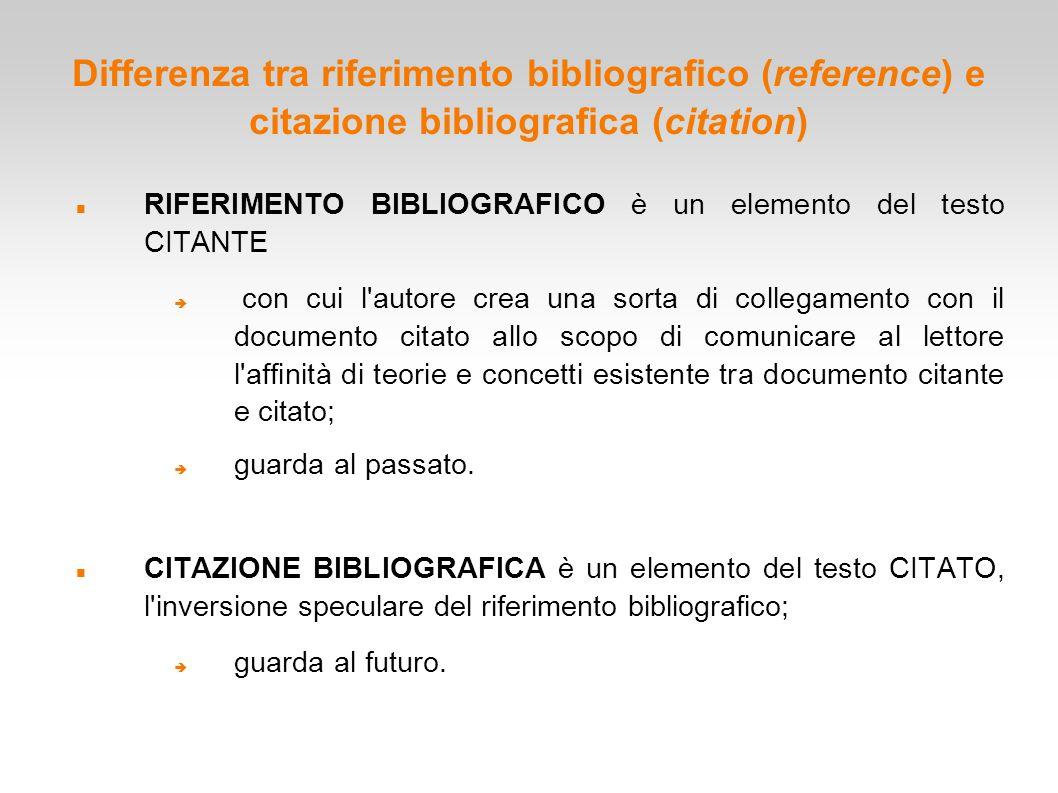 Differenza tra riferimento bibliografico (reference) e citazione bibliografica (citation)